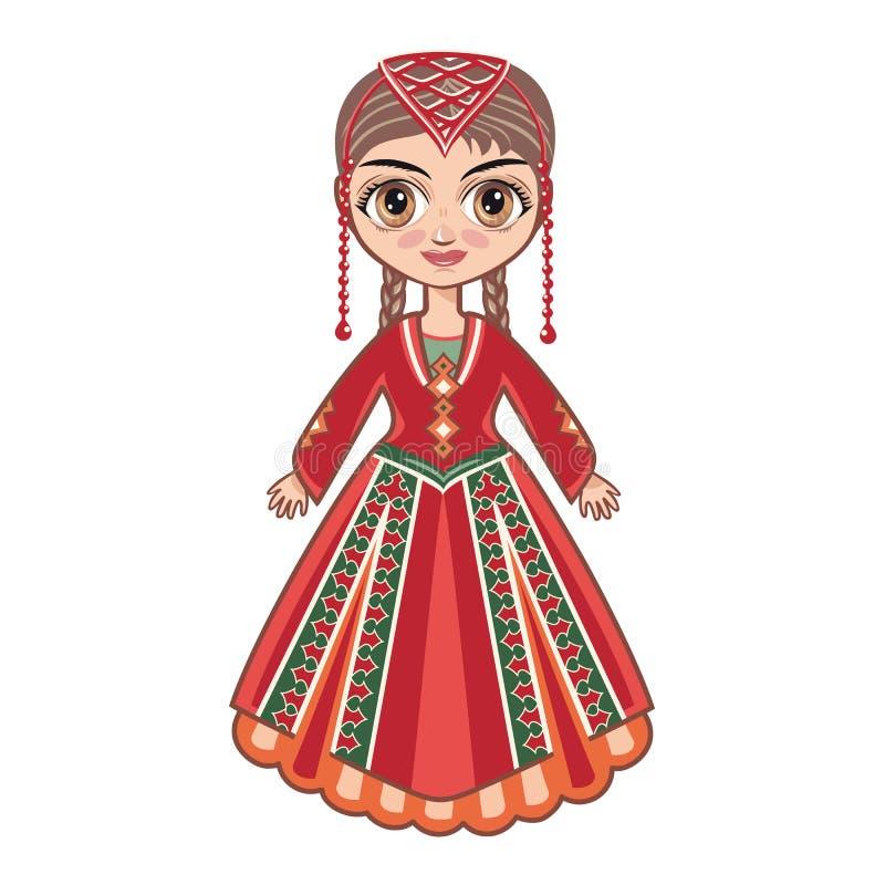 Девушка в армянских национальных одеждах иллюстрация вектора