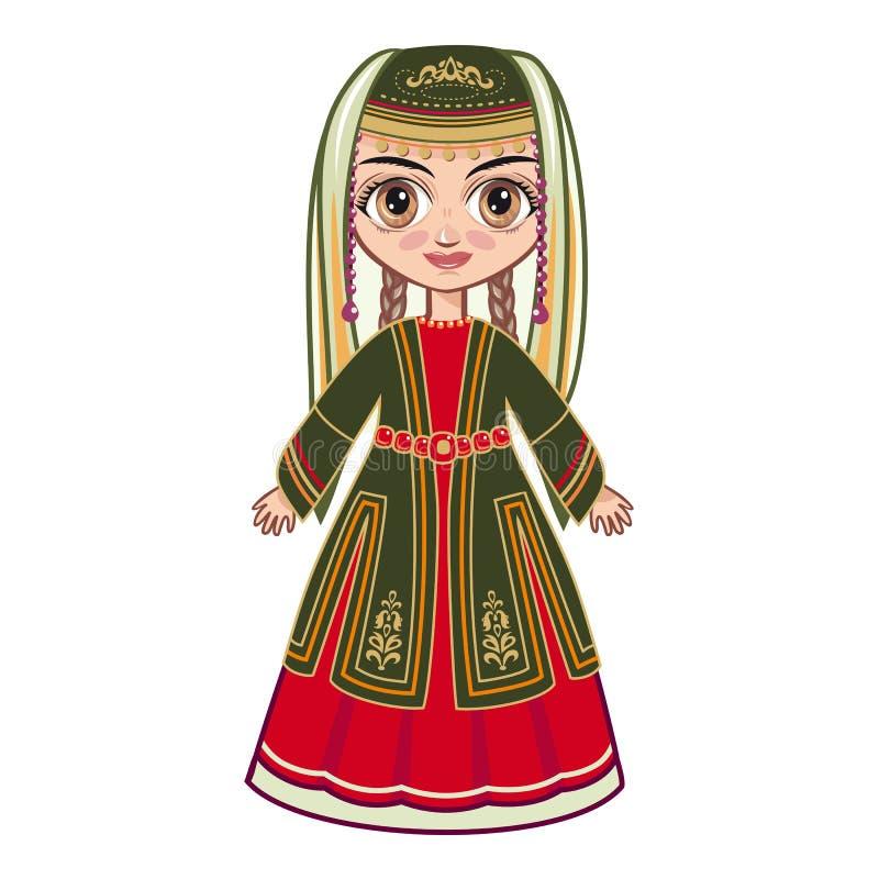 Девушка в армянских национальных одеждах иллюстрация штока
