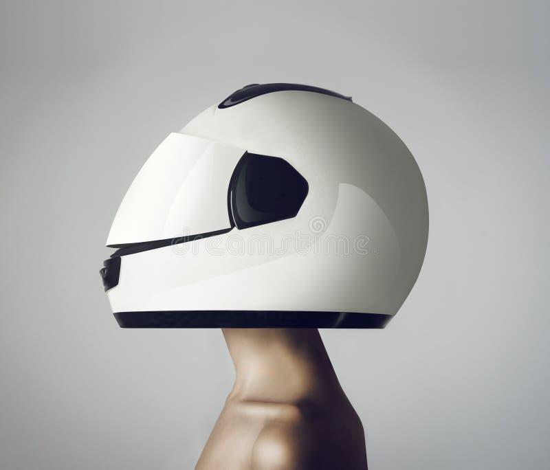 Девушка в астронавте шлема стоковое фото rf