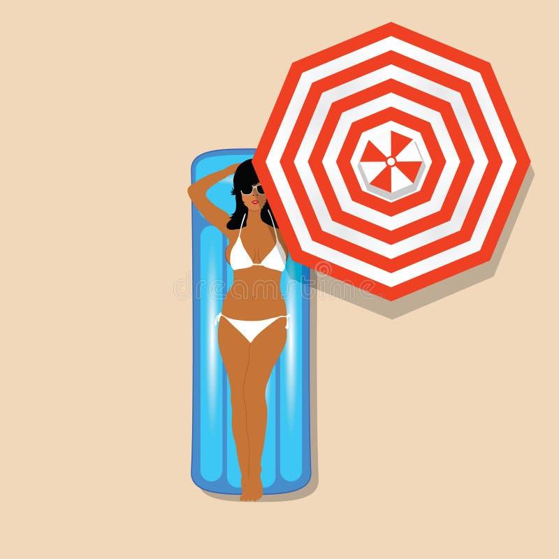 Девушка в белом бикини на mettress и иллюстрации зонтика стоковые изображения