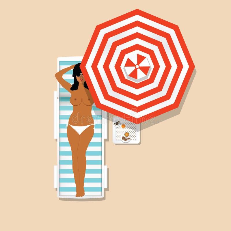 Девушка в белом бикини отдыхая на deckchair с зонтиком иллюстрация штока