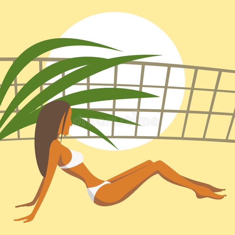 Девушка в белом купальном костюме иллюстрация вектора