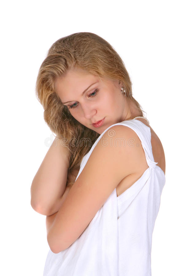 Девушка в белизне стоковая фотография rf