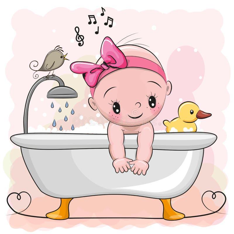 Девушка в ванной комнате иллюстрация штока