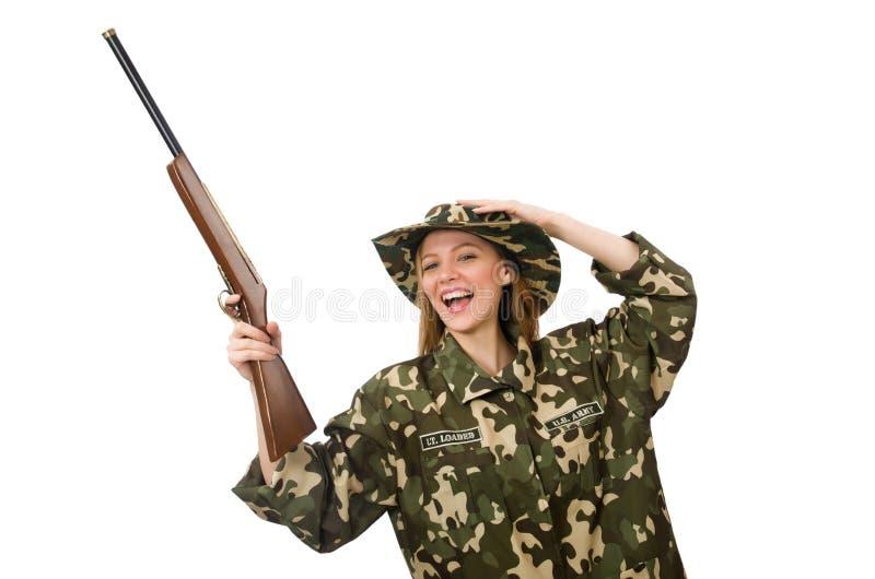 Девушка в военной форме держа оружие изолированный на белизне стоковые изображения rf