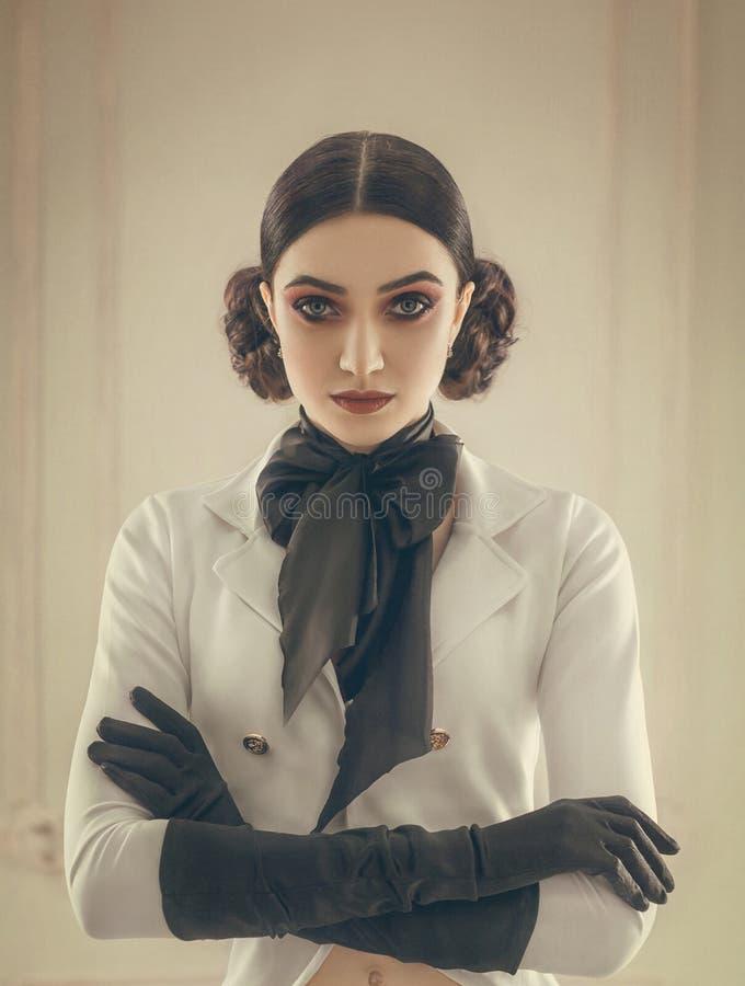 Девушка в всаднике костюма стоковое фото rf