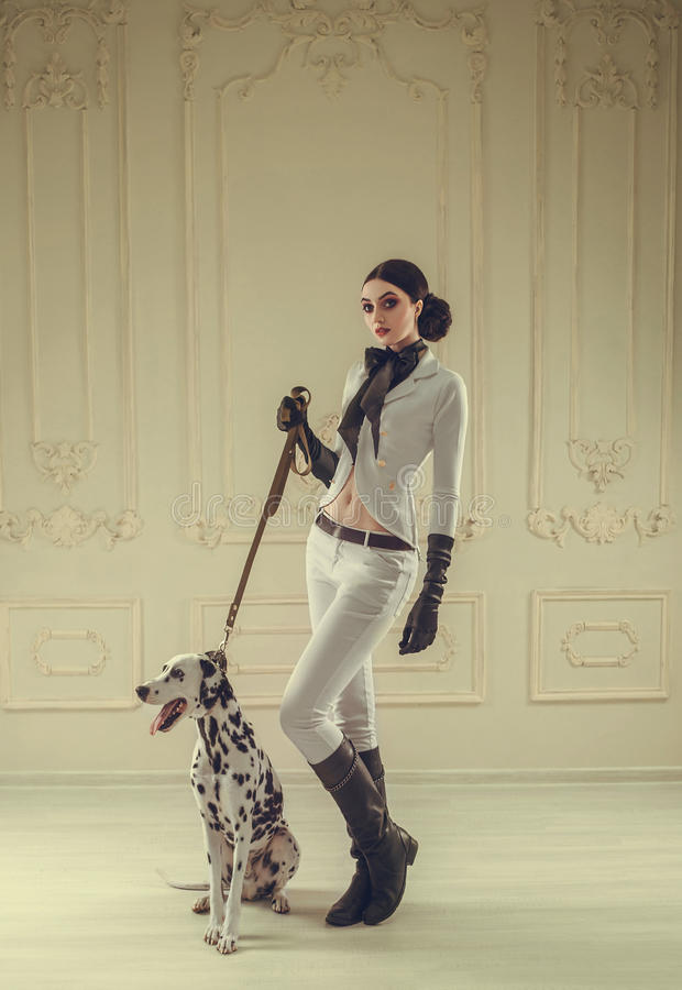 Девушка в всаднике костюма стоковая фотография rf