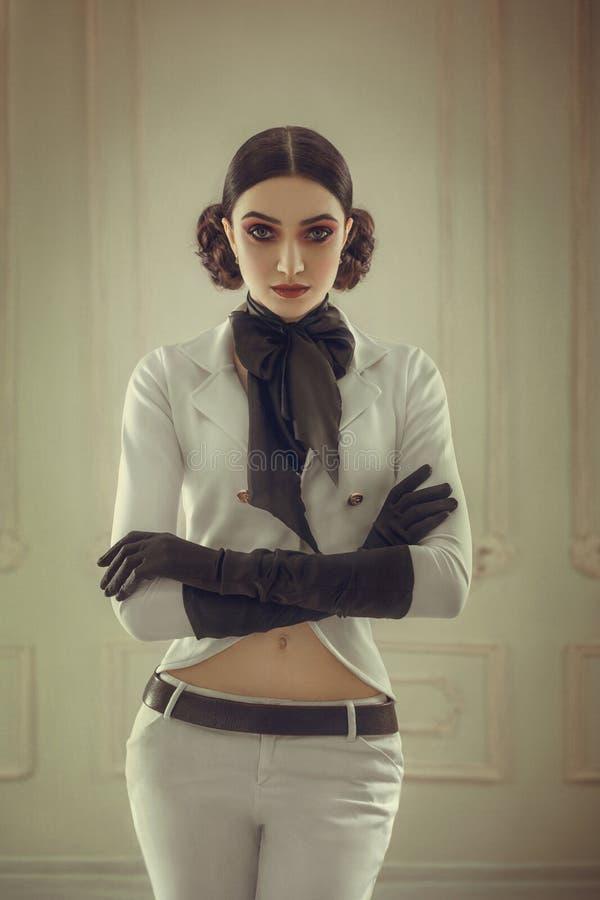 Девушка в всаднике костюма стоковые изображения rf