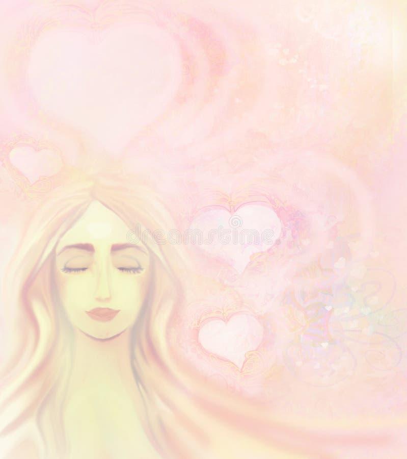 Девушка в влюбленности иллюстрация штока