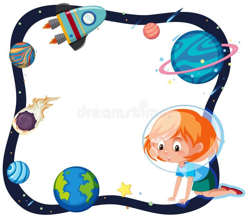 Девушка в границе космоса иллюстрация штока