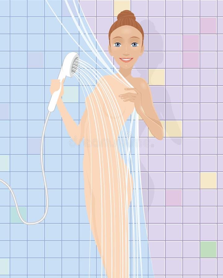 Девушка в ливне иллюстрация штока