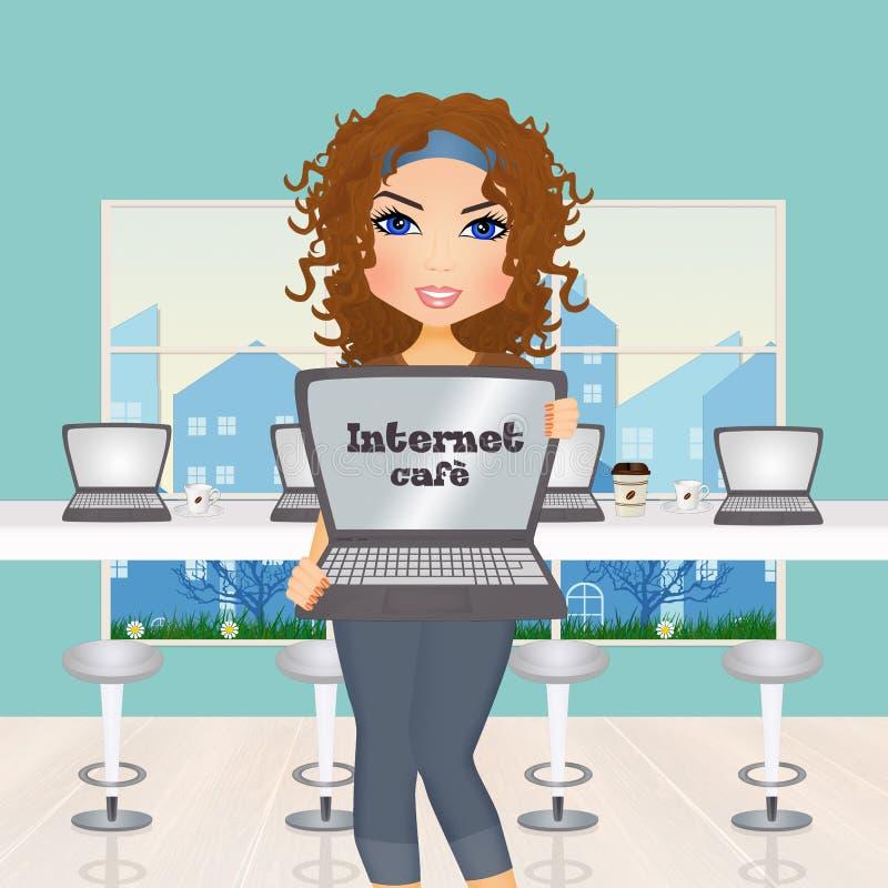Девушка в интернет-кафе иллюстрация штока