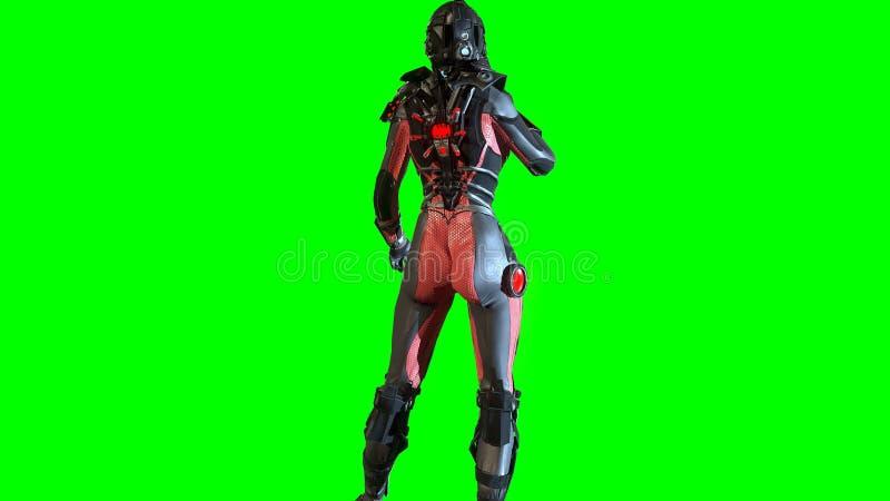 Девушка в космическом костюме 3d fy неба представить иллюстрация штока