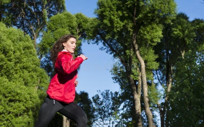 Девушка в красной куртке бежит на предпосылке тимберсов деревьев и голубого неба, бегуна стоковые фотографии rf