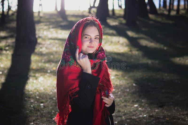 Девушка в красном пальто идет с лесом корзины весной стоковые фотографии rf