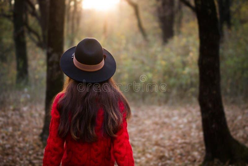 Девушка в красном свитере, открывая волшебный лес стоковое изображение