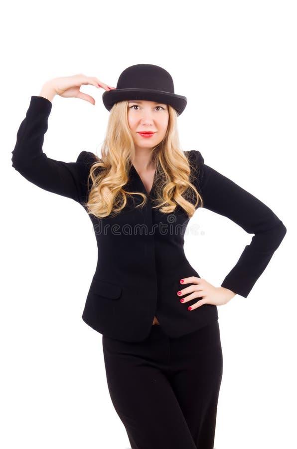 Девушка в классическом мужском костюме изолированном на белизне стоковая фотография rf