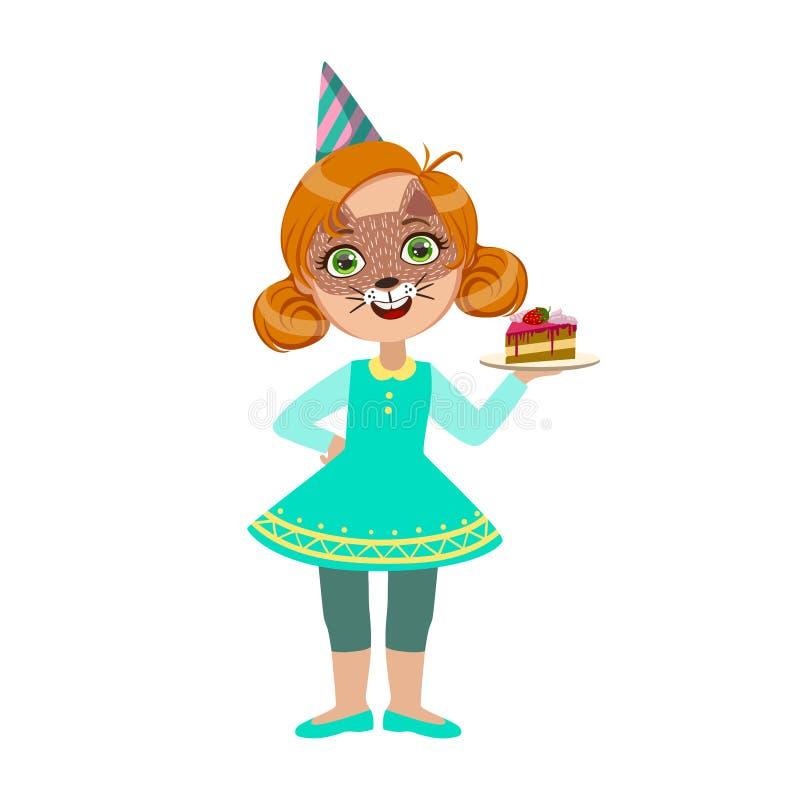 Девушка в маске кота с частью торта, часть детей на комплекте вечеринки по случаю дня рождения милых персонажей из мультфильма с  иллюстрация вектора