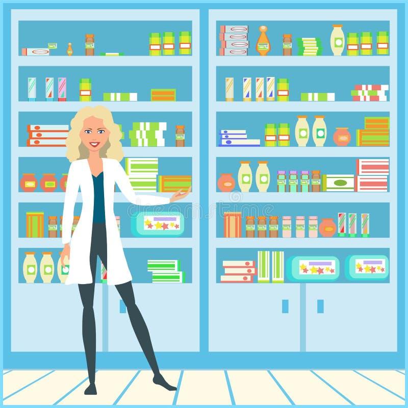 Девушка в медицинском халате Доктор в фармации Усмехаясь продавец в белом пальто лаборатории иллюстрация штока