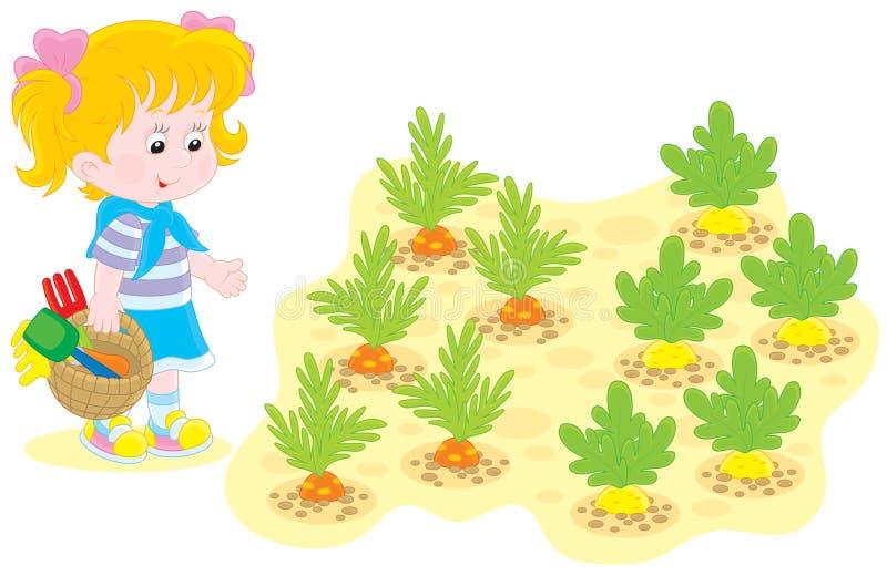 Девушка в огороде иллюстрация штока