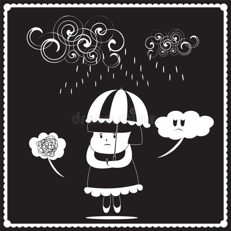 Девушка в дождливом дне иллюстрация вектора