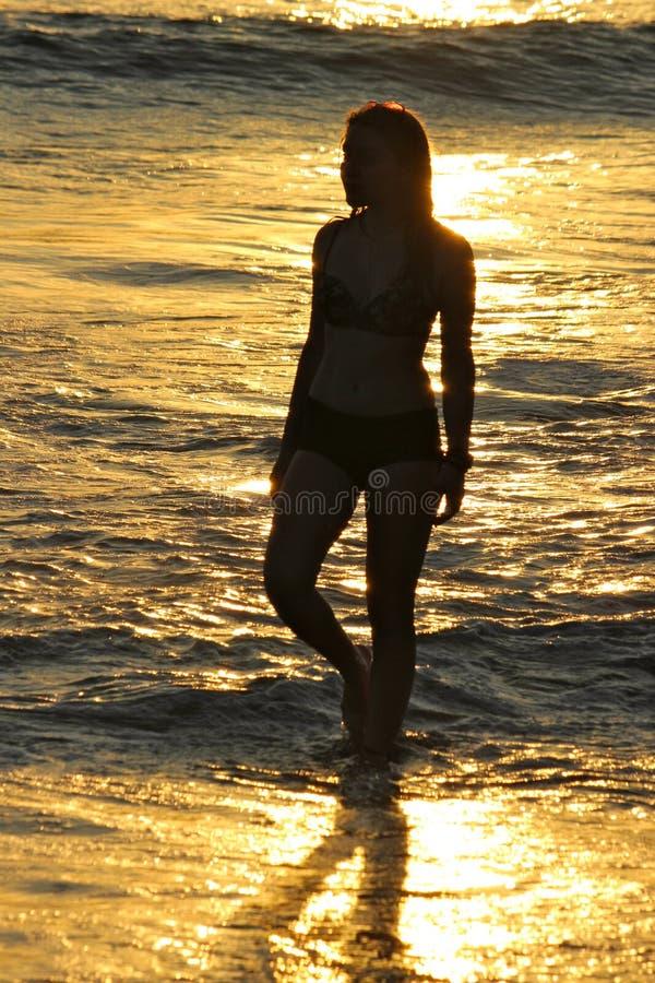 Девушка в океане на заходе солнца стоковые фотографии rf