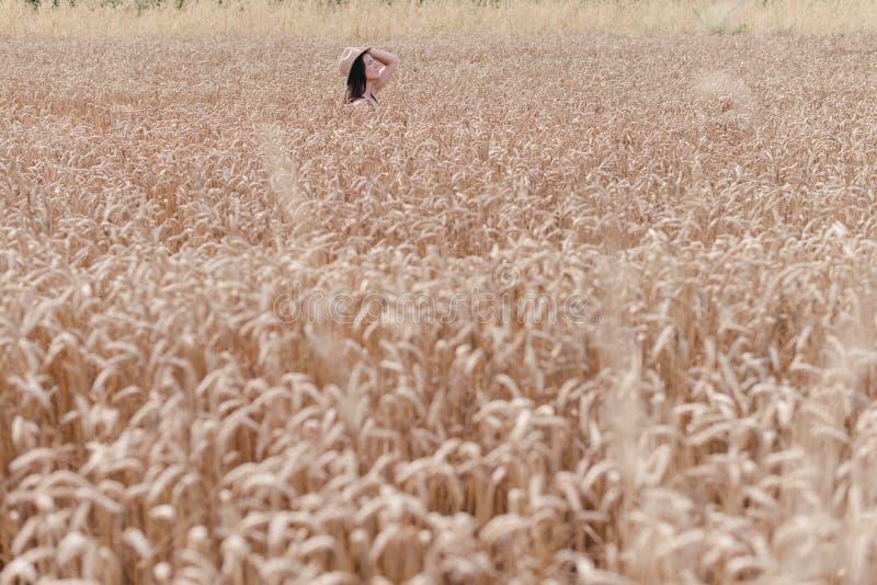 Девушка в острословии пшеничного поля шляпа стоковые фото