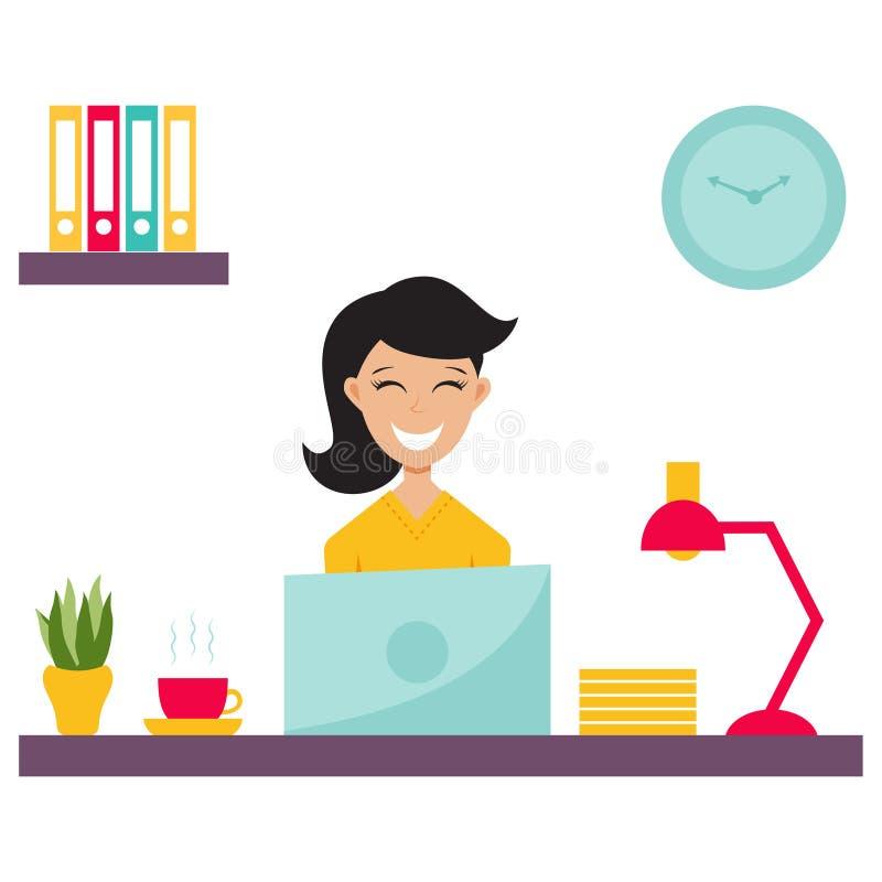 Девушка в офисе бесплатная иллюстрация