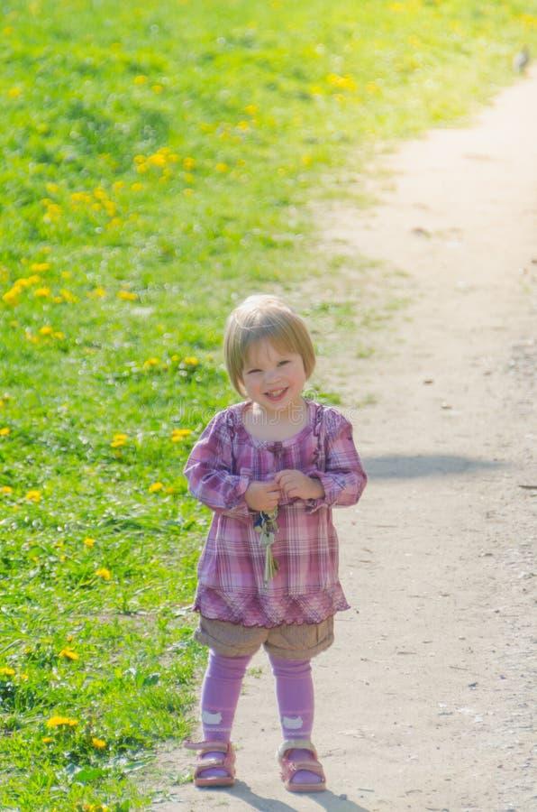Девушка в парке на солнечный летний день стоковое фото rf