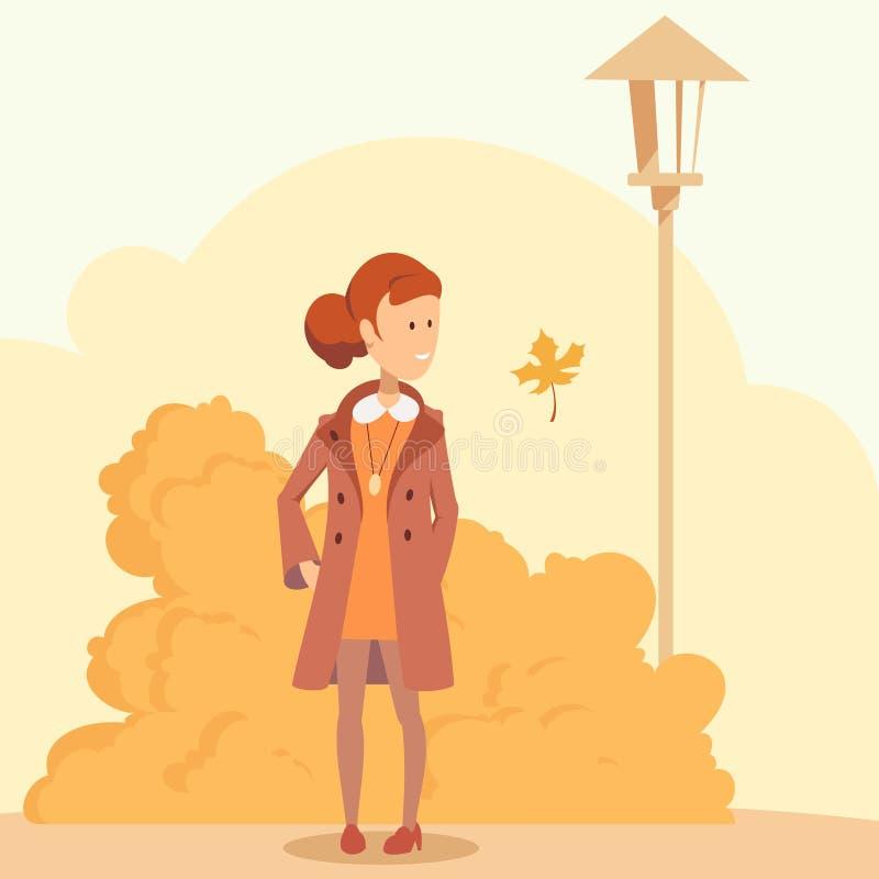 Девушка в парке осени иллюстрация штока