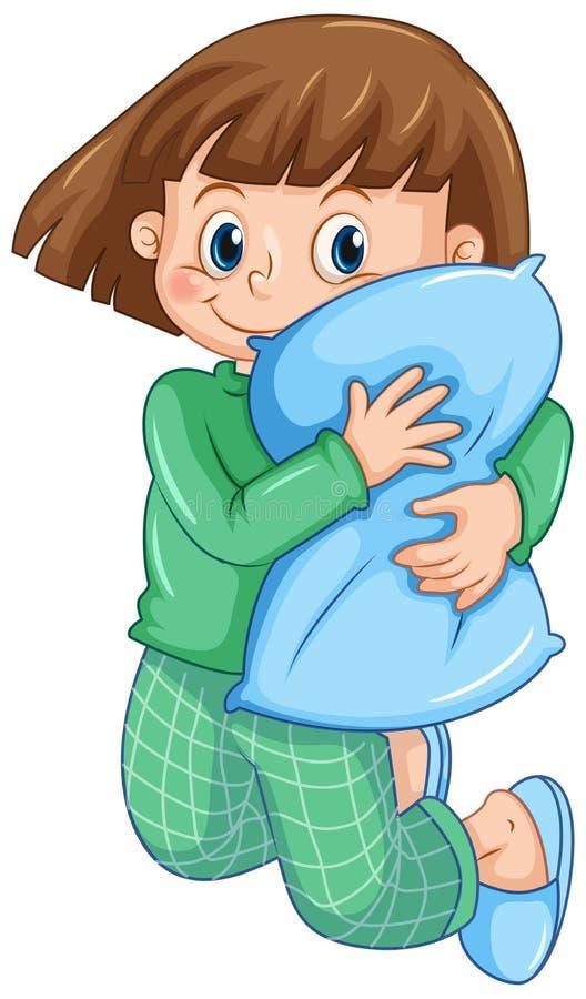 Девушка в пижамах обнимая подушку иллюстрация штока