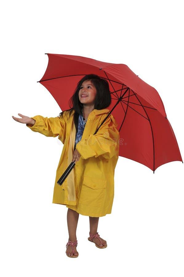 Девушка в плаще держа зонтик стоковая фотография rf