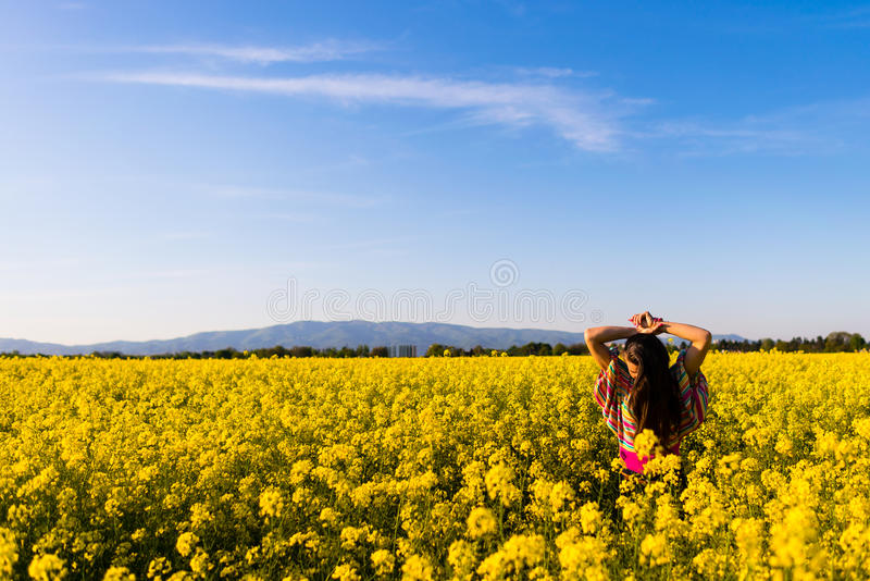 Девушка в поле цветка стоковое фото rf
