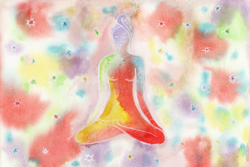 Девушка в представлении лотоса покрашенном в акварели на backgrou радуги иллюстрация штока