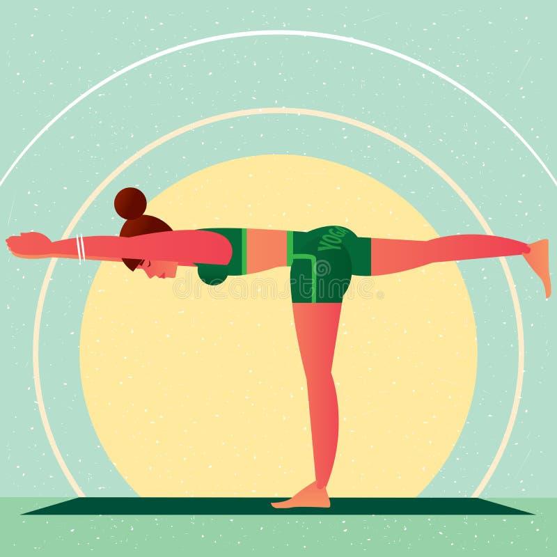 Девушка в представлении или Virabhadrasana ратника йоги бесплатная иллюстрация