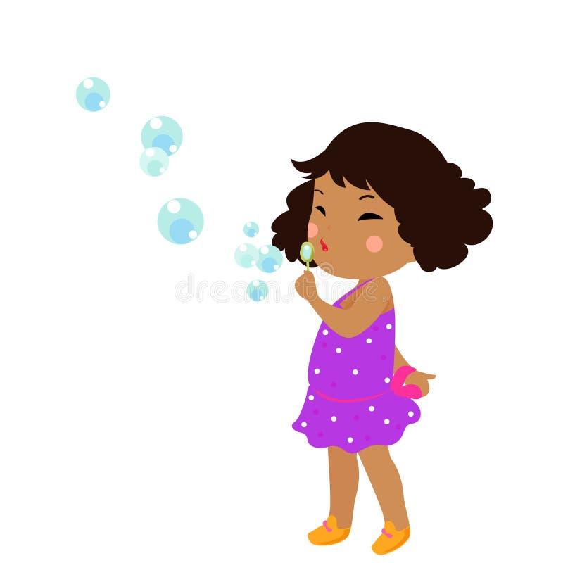 Девушка в пузырях дуновения бесплатная иллюстрация