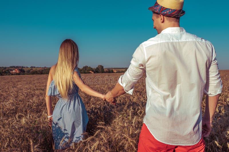 Девушка в пшеничном поле летом в голубом платье держит руку парня человека Женщина идет через поле, длинные волосы стоковая фотография rf
