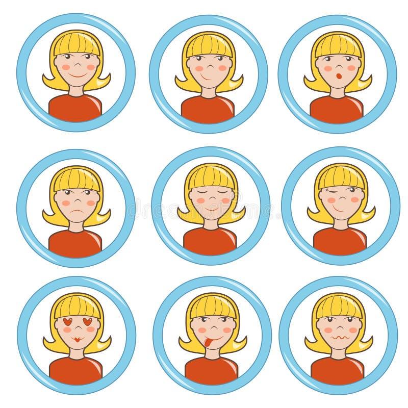 Девушка в различном настроении, комплекте стоковые изображения rf