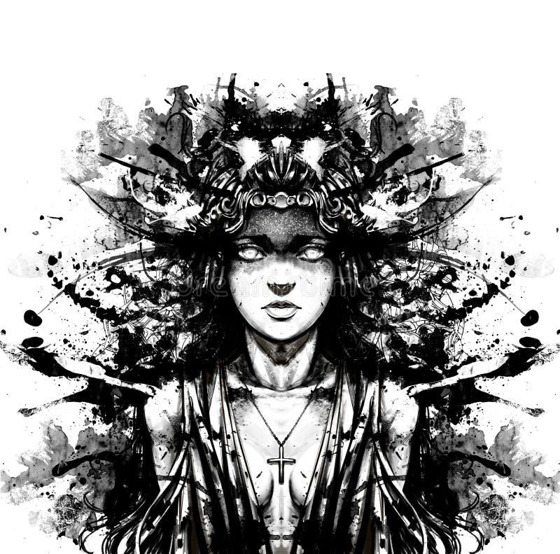 Девушка в ритуальных орнаментах платья и золота иллюстрация штока
