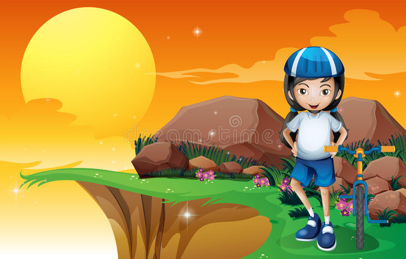 Девушка в скале иллюстрация вектора