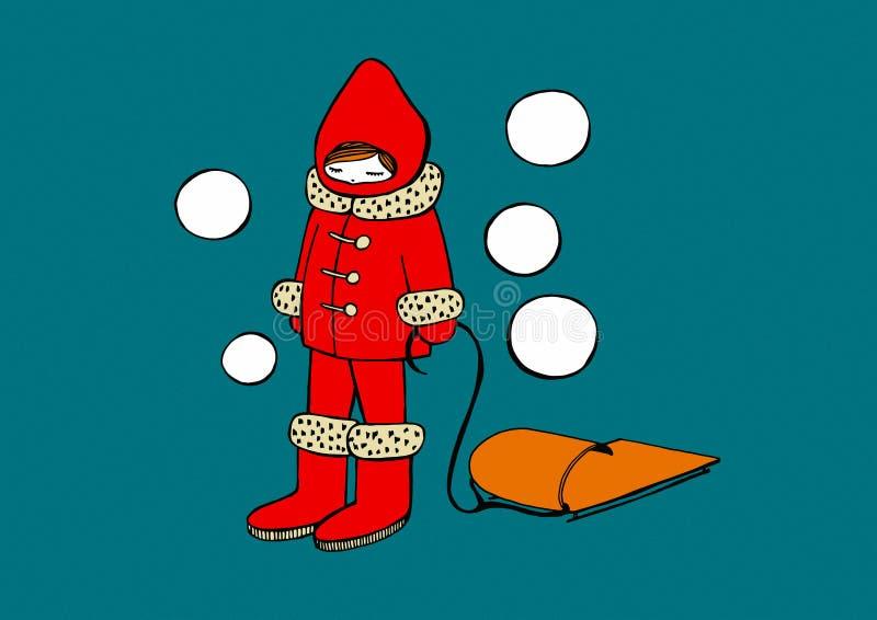 Девушка в снежке бесплатная иллюстрация