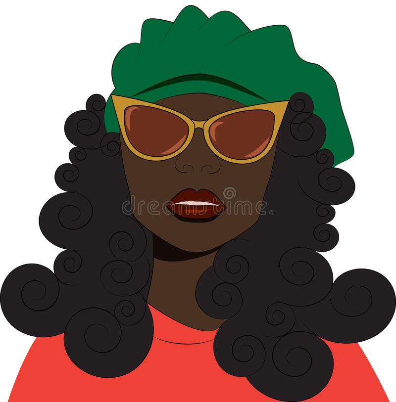 Девушка в солнечных очках и берете иллюстрация вектора