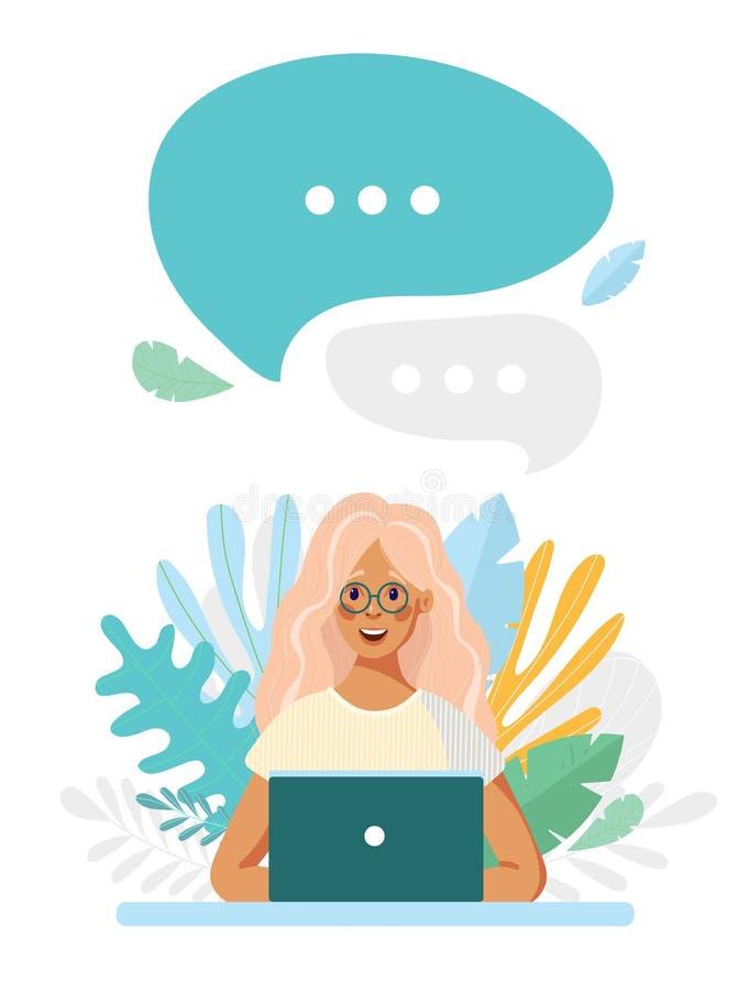 Девушка в стеклах сидит на ноутбуке на предпосылке листьев Пузырь речи над ним Концепция интернета иллюстрация вектора