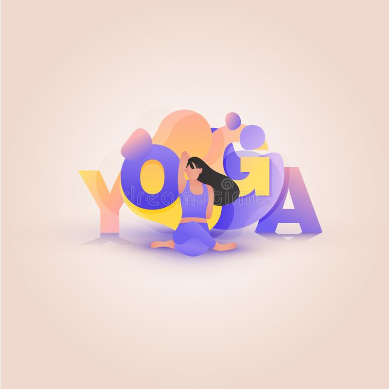 Девушка в стороне коровы представления йоги иллюстрация вектора