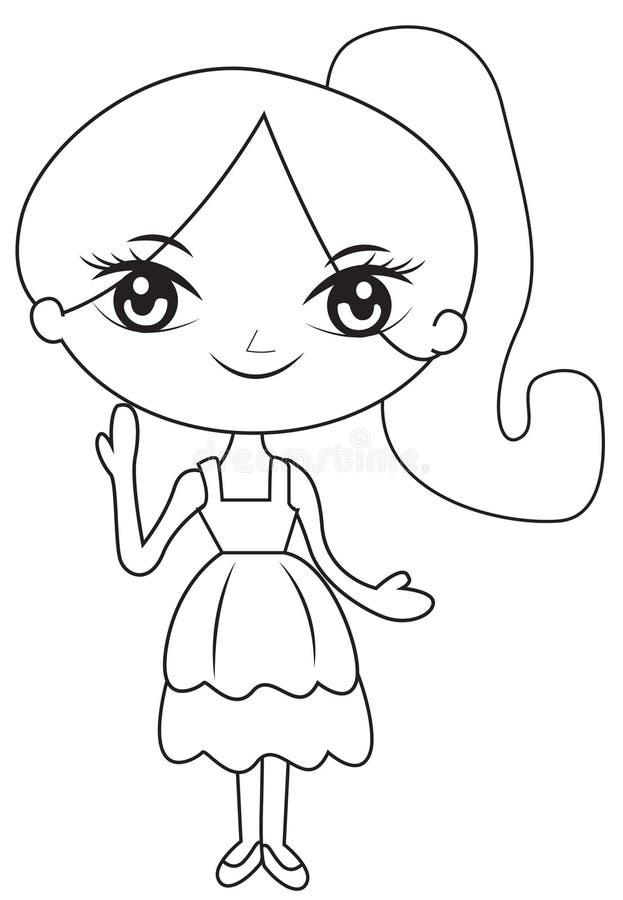 Девушка в странице расцветки ponytail бесплатная иллюстрация
