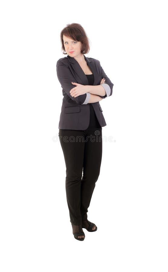 Девушка в темном костюме стоковое изображение rf