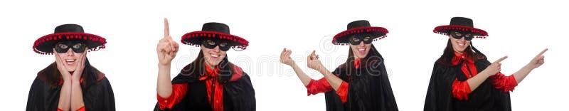 Девушка в черном и красном костюме масленицы изолированном на белизне стоковая фотография