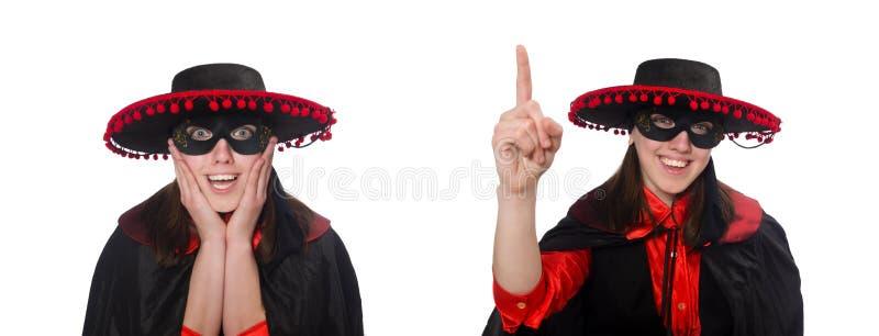 Девушка в черном и красном костюме масленицы изолированном на белизне стоковые изображения rf