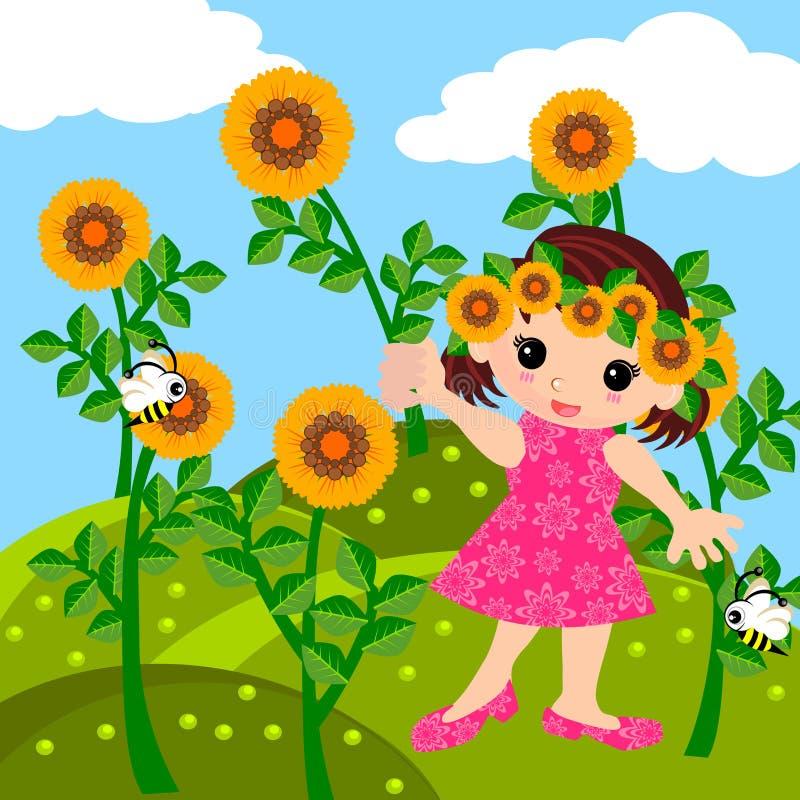 Девушка в шарже луга иллюстрация штока