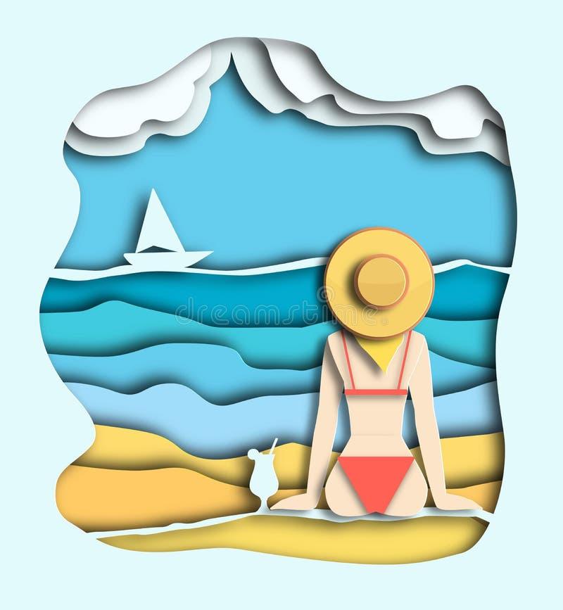 Девушка в шляпе лета сидит на песке около моря или океана на острове Иллюстрация стиля слоя отрезка бумаги иллюстрация вектора